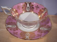 ROYAL STAFFORD Teacup & Saucer Pink White & Gold Bone Chia