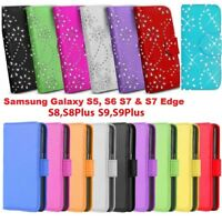 For SAMSUNG GALAXY S5 S6 S7 S8 S9+ LEATHER BLING DIAMOND WALLET BOOK CASE COVERS