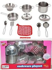 11p Kids Playhouse Kitchen POTS+PANS Set STAINLESS STEEL Metal Cookware Utensils