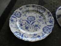 Antique Flow Blue Plate Royal Tunstall Staffordshire England Wild Flower 8""