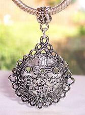 Large Flower Filigree Medallion Focal Dangle Bead fits European Charm Bracelets