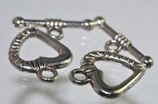 Antique Silver Rhodium Plated Over Copper Bali Style Heart Toggle Clasp R0798