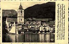 St. Wolfgang Salzkammergut AK ~1920/30 Blick auf Hotrel Weißes Rössl Schafberg