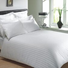 EGYPTIAN COTTON 400 THREAD CLASSIC STRIPE WHITE KING SIZE DUVET COVER
