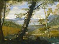 ANNIBALE CARRACCI ITALIAN RIVER LANDSCAPE OLD ART PAINTING POSTER BB4868B