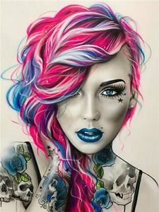 Tattoo Woman Portrait Gothic Hair Pink Paint By Numbers Canvas Wall Art Painting