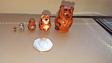 Russian Matryoshka Bear,Tiger, Boar, Hare,Owl MINI Nesting Doll, 5 dolls set