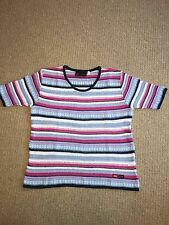 GAS Women's Blue/Pink/White Stripped Short Sleeved Crochet Jumper (size UK10-12)