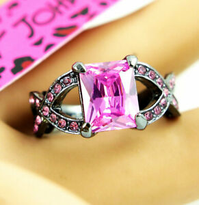Hot Square pink Crystal black Colour Betsey Johnson Lady's Woman Ring Size 8