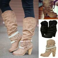 Women's Winter Buckle Slouch Mid-Calf Boots Ladies Block High Heel Shoes Big