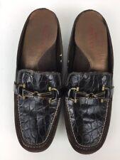 Sesto Meucci Women's Driving Shoes Mocs Horse Bit Croc Print Brown Leather Sz 7M