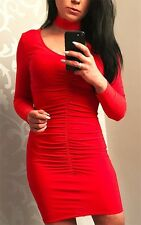 Progress London~ Red Front Ruched Bodycon Choker Dress~ Size  12 ~ (R16)