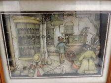 Anton Pieck Handcut 3D Layered Shadowbox Diorama Coated Paper Pretzel Monkey