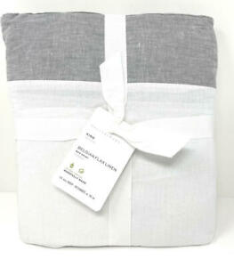 """New~Pottery Barn Belgian Flax Linen Bed Skirt Bedskirt KING~14"""" Drop~Flagstone"""