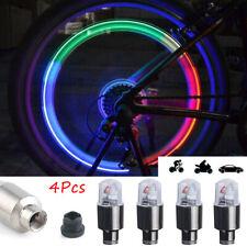 4Pcs RGB LED Wheel Tyre Tire Air Valve Stem Cap Motorcycle Bike Car Cap Light