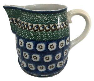 "Pitcher German Ceramic Vintage Blue Green Stars 7"" tall"