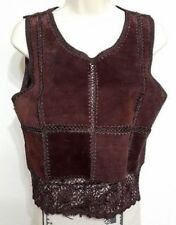 IMAGIO Leather Crochet Tank Top Patchwork Sleeveless Crop Scoop Neck Large