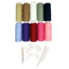24Pcs/set Cotton Sewing Thread Spools Assorted Colours Carpet Curved Needles
