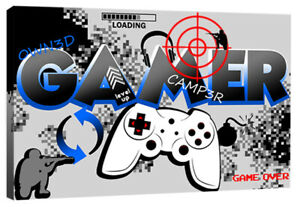 Boys Gamer Quote Computer Controller Gaming Canvas Wall Art Print Picture