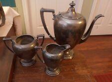 Antique Silver Plate Set of 3 Tea Pot Creamer Sugar MonagrmV H R marked (P) B350