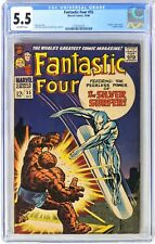 S621 FANTASTIC FOUR #55 Marvel CGC 5.5 FN- (1966) CLASSIC SILVER SURFER VS THING