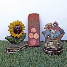 2 Small Cast iron Door Wedges + Wooden - Sunflowers - Noahs Ark- 3 Door Stops