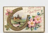 ANTIQUE POSTCARD GOOD LUCK BEST WISHES FLOWERS HORSE SHOE CLOVER PASTORAL SCENE