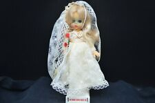 Vintage Hard Plastic Doll in White Wedding Gown, on Stand-Quality Made-Hong Kong