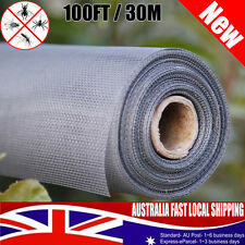 100ft / 30m ROLL INSECT FLYWIRE WINDOW FLY SCREEN NET MESH FLYSCREEN HOME Grey