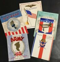 x5 World War II Vintage Soldier Patriotic Birthday Greeting Cards WWII