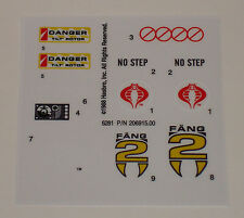 GI Joe Cobra FANG II Sticker Decal Sheet