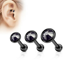 3 Set Tragus Helix Ear Stud Piercing Zirconia Rhinestone Ball Jewelry Earrings 06 - Flat Top Clear Crystal Black Plain