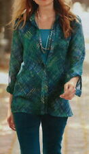 J. Jill Tweed Plaid Printed Blouse  L  NWT  $79  DEEP SEA  Tweed