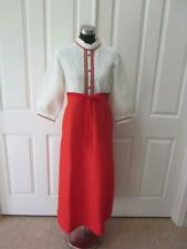 Vtg Dorothy Perkins Red & White Quilted Long Robe w/ Lace Ric Rac Trim Sz M