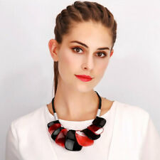 Tribal fashion jewellery colourful chunky acrylic black cord choker necklace