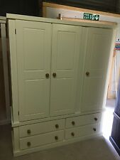 AYLESBURY TRIPLE 4 DRAWER WARDROBE CREAM WITH WAXED HANDLES NO FLAT PACK