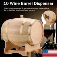 10L Oak Wine Barrel Storage Whiskey Rum Port Barrel Wood Keg For Leak with Stand
