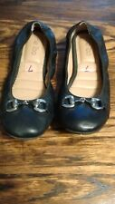 Me Too,Black Ballet Slippers Shoes With Buckle,Size7M,EUC