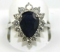 Pear Blue Sapphire & Diamond Halo Solitaire Ring 14k White Gold 4.20Ct