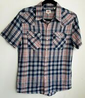 LEVI'S MENS SHIRT S NAVY BLUE RED WHITE CHECK PRESS STUD LINEN COTTON