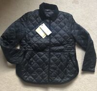 Barbour Coat Black Quilted Reworked Liddlesdale Jacket UK 12 RRP £169 Women's