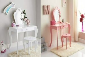 Stunning Amelia Vanity Set Pink White With Stool & Mirror Perfect For Girls Room