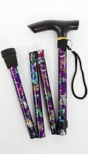 Folding Adjustable Walking Stick Fancy Ladies Woman Light Weight Easy Fold