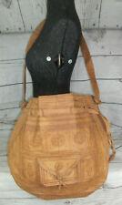 Vintage Moroccan Camel Tooled Leather Large Shoulder Tote Bag Festival