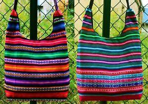 große Peru Tasche Schultertasche bunt gewebt Inka Muster Streifen Manta Stoff