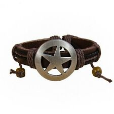 Adjustable Genuine Leather Bracelet with Stainless Steel Pagan/Wicca SHIELD