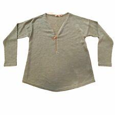 Soft Surroundings Women's Medium Valentina Zip Sweater Soft Knit Top Sage Green