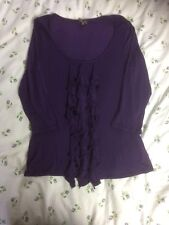 PHASE EIGHT Ladies Long Sleeves Top With Ruffles-size 12. Rich Purple. VGC
