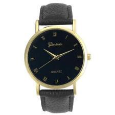 Ladies Fashion Gold Geneva Quartz Black Faced Black Band Wrist Watch.(Aussie)