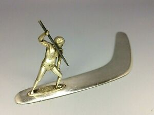 Australian Silver Boomerang Letter Opener Paperweight With Aboriginal with Spear